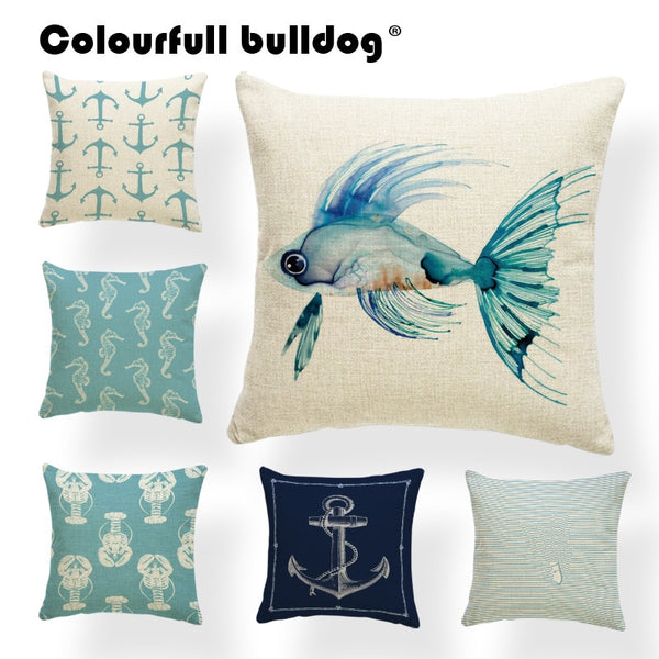 Coastal Cushion Cover Geometry Japan Ukiyo-E Fish Pillow Covers Shabby Chic Farmhouse Decorator Throw Pillow 43X43Cm Linen Cheap