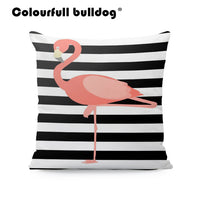 Pink Flamingos Cushion Cover White Nautical Mermaid Pillow Case Palm Trees Childlike Farmhouse Decor Red Dakimakura 17X17 Velvet