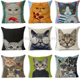 ZENGIA Cat Pillow Case Farmhouse Decor Cotton Linen Cushion Cover Throw Pillows Home Decorative Pillow Cover For Sofa Cojines
