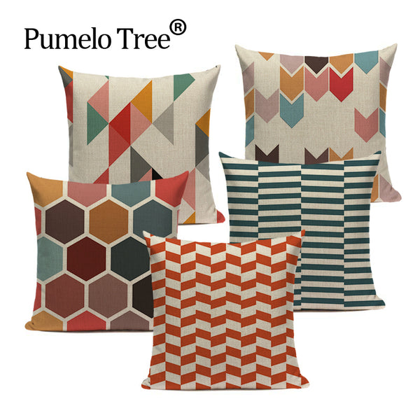 Colorful Nordic Geometric Pillow Case Cover Camping Bedding Cushion Cover Custom Quality Farmhouse Home Decor Throw Pillow Cover