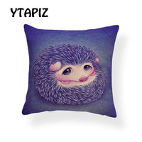 Cartoon Hedgehog Elephant Pillow Case Yellow Blue Red Scarf Hat Balloon Glasses Woods Decoration Farmhouse Bed Cushion Cover