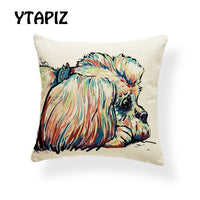 Painted Style Dog Pillow Set Chihuahua Schnauzer Bulldog Retriever Decoration Farmhouse Sofa Cushion Cover 45 * 45 Polyester
