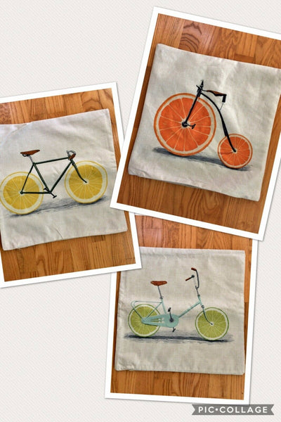"Bicycle Pillow Covers Bike 18""x18"" Citrus Orange Lemon Lime Quick Home Decor"