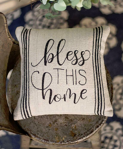 BLESS THIS HOME 10x10 PILLOW : COUNTRY FARMHOUSE SAYING ACCENT TOSS CUSHION