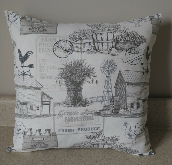 1 farm house farmhouse country toile barn rooster pillow covers shams 14 x 14