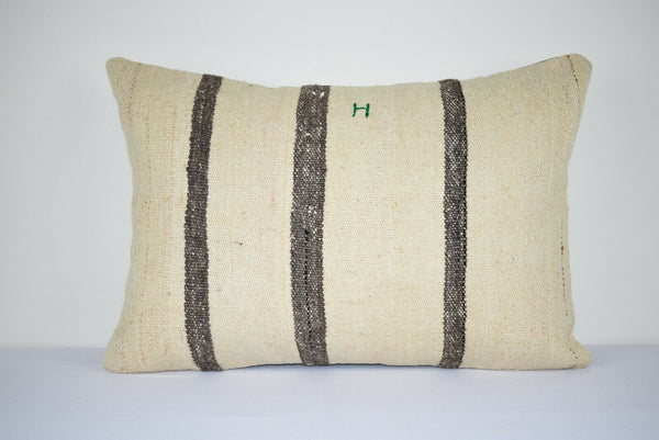 16x24 Shine Society Kilim Lumbar Pillow Cover, Bohemian Chic Embroidered Cushion
