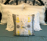 """Nautical Knot"" Pillow--Coastal, Cottage, Farmhouse--handmade & washable"