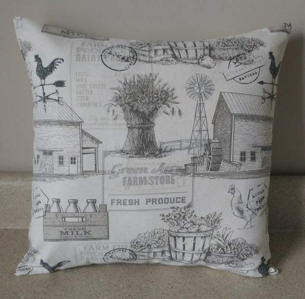 1 farm house farmhouse country toile barn rooster pillow covers shams 16 x 16