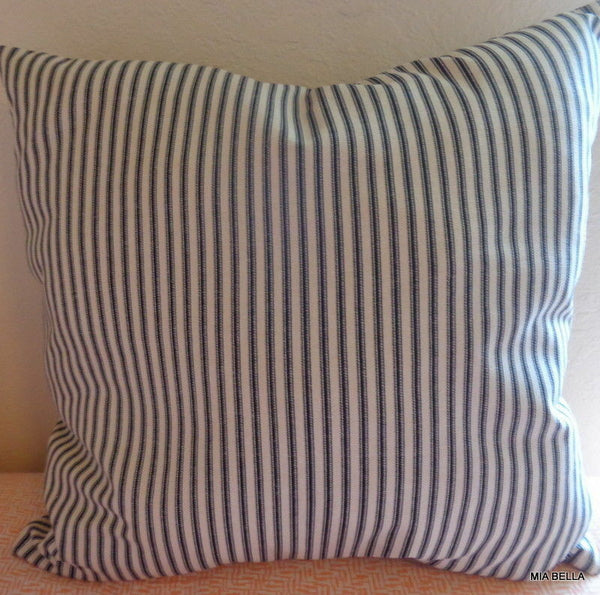 Black Ticking Stripe Throw Pillow Cover Farmhouse County Chic Zippered Pillow