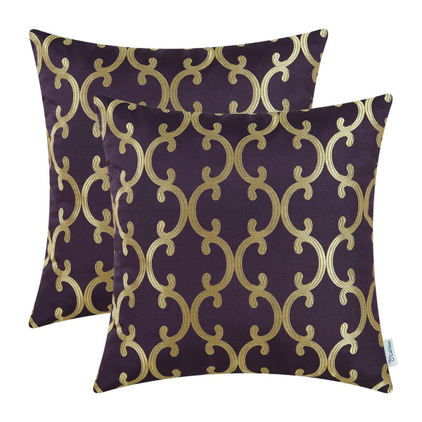 2Pcs Aubergine Cushion Covers Pillows Case Shells Geometric Trellis Chain 18x18""