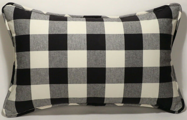 "1 15"" by 24"" Farmhouse Country Black Off White Designer Throw Pillow Cover"