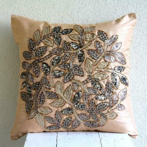 Beige 3D Sequins Leaf 20x20 inch Silk Pillows Covers For Couch - Leaf Rings
