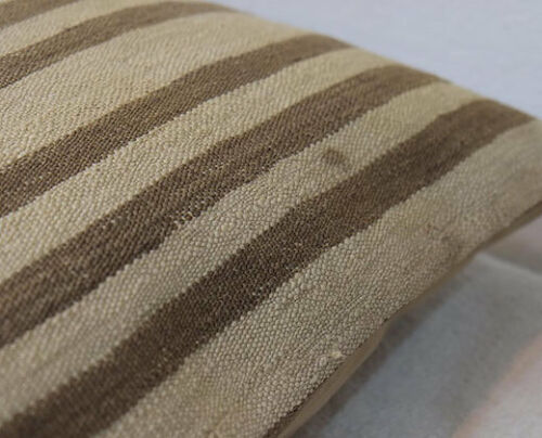 20''x20''Cream Brown Striped,Organic Wool,Kilim Pillow Cover,50x50cm Pillows