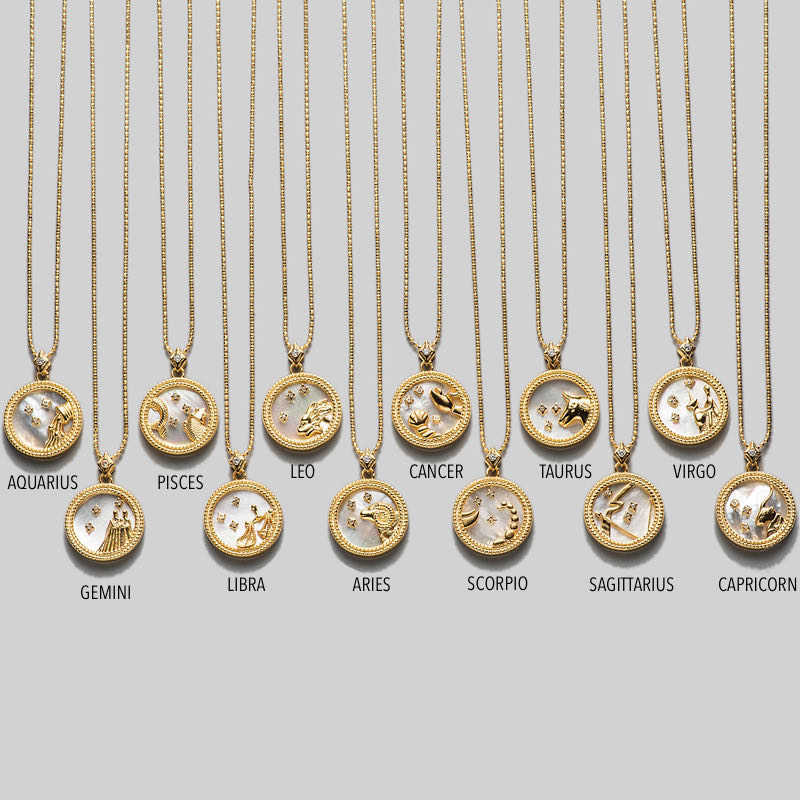 Zodiac Pendant Necklace | Mother of Pearl with 18k Gold Vermeil