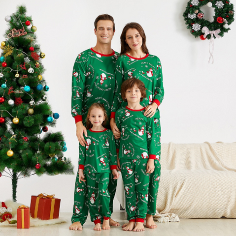 Merry Christmas Snowflake and snowman Patterned Family Matching Pajamas Set