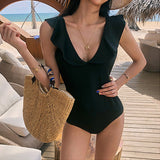 Black/Floral Backless One Piece