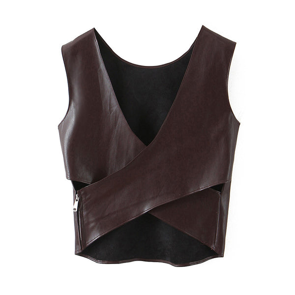 PU Faux Leather Cross Top