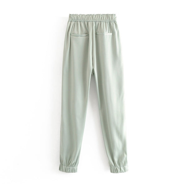 Solid Glossy Joggers Pants