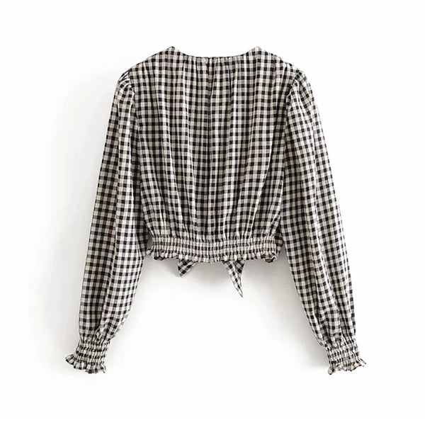 Poof Plaid Cropped Blouse