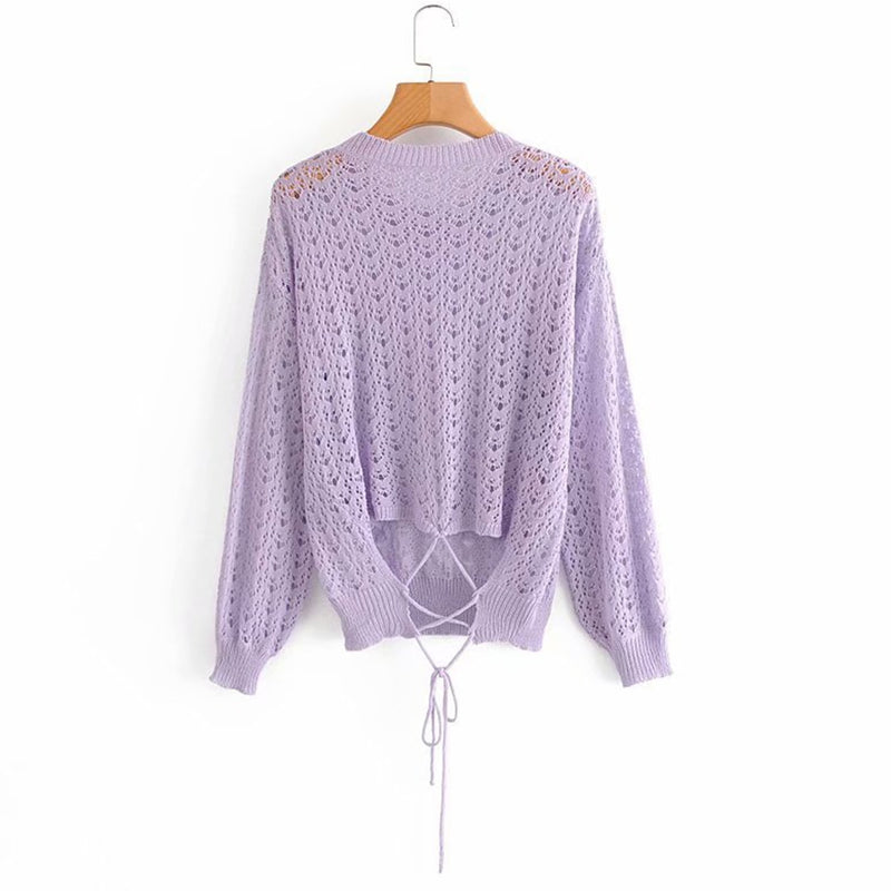 Lilac Pointelle Sweater Top