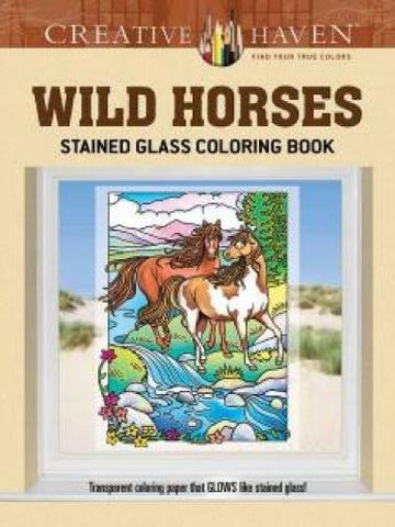 Creative Havens Wild Horses Stained Glass Coloring Book