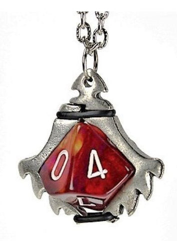 Dice Holder Jewelry: Serrated Blade Pendant d10 - Old Silver Finish