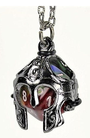 Dice Holder Jewelry: Helmet Pendant d20 - Gunmetal Grey Finish