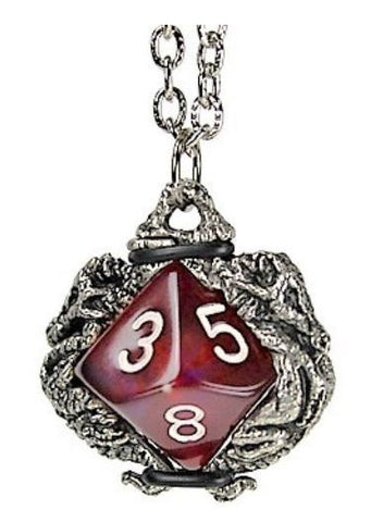 Dice Holder Jewelry: Dragons Pendant d10 - Old Silver Finish