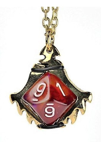 Dice Holder Jewelry: Serrated Blade Pendant d10 - Gold Finish