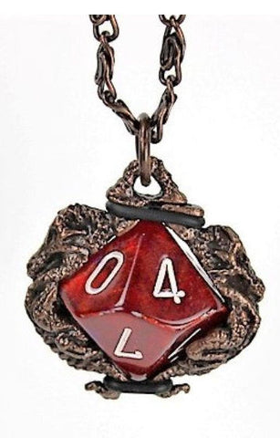 Dice Holder Jewelry: Dragons Pendant d10 - Old Copper Finish