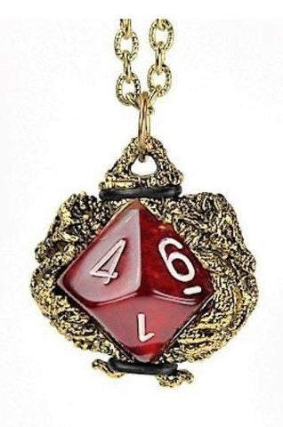 Dice Holder Jewelry: Dragon Pendant d10 - Gold Finish