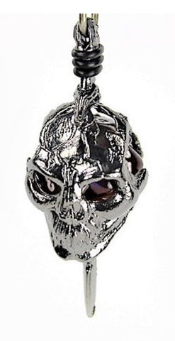 Dice Holder Jewelry: Skull and Dagger Pendant d20 - Gunmetal Grey Finish