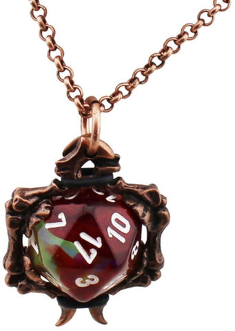 Dice Holder Jewelry: Bones Pendant d20 - Old Copper Finish