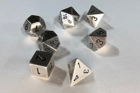 Solid Metal Silver Polyhedral Dice Set