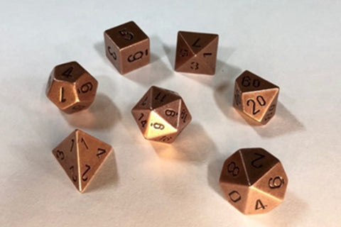 Solid Metal Old Brass Color Polyhedral Dice Set