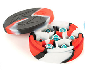 Silicone Round Dice Case: Red/Black/White