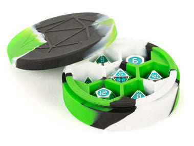 Silicone Round Dice Case: Green/Black/White