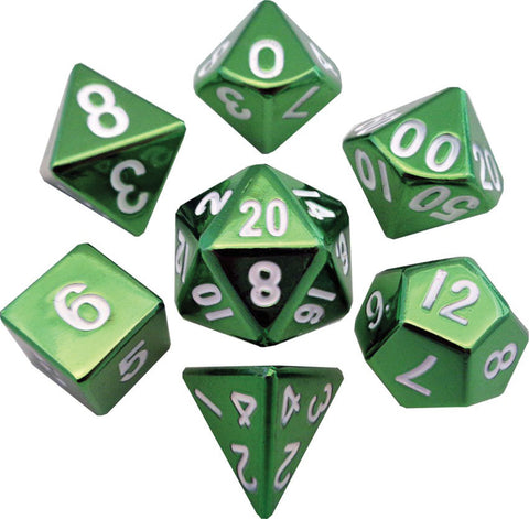 Green 16mm Metal Polyhedral Dice Set