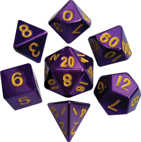 Purple with Gold Numbers 16mm Metal Polyhedral Dice Set