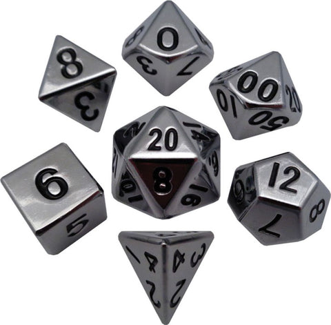 Silver 16mm Metal Polyhedral Dice Set