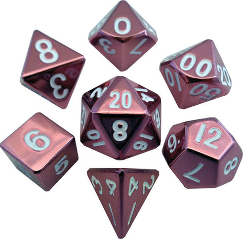 Pink 16mm Metal Polyhedral Dice Set
