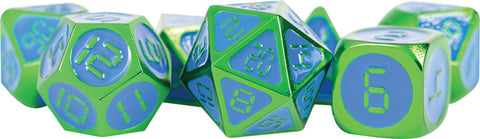 Green with Blue Enamel Digital 16mm Metal Polyhedral Dice Set