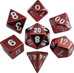 Red Painted Metal 16mm Polyhedral Dice Set