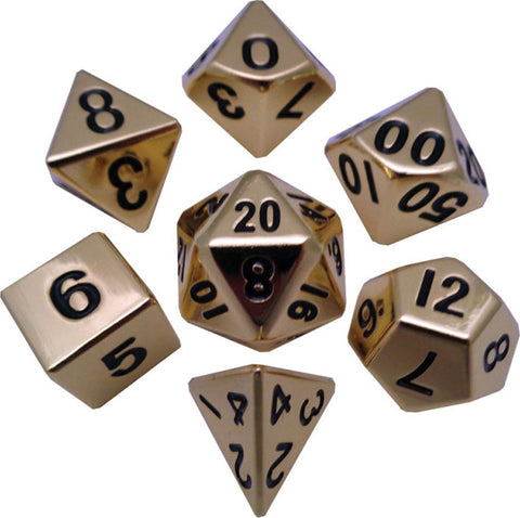 Gold 16mm Metal Polyhedral Dice Set