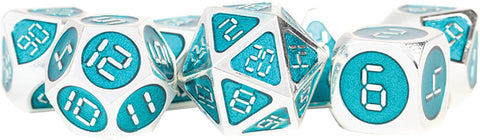 Silver with Teal Enamel Digital 16mm Metal Polyhedral Dice Set