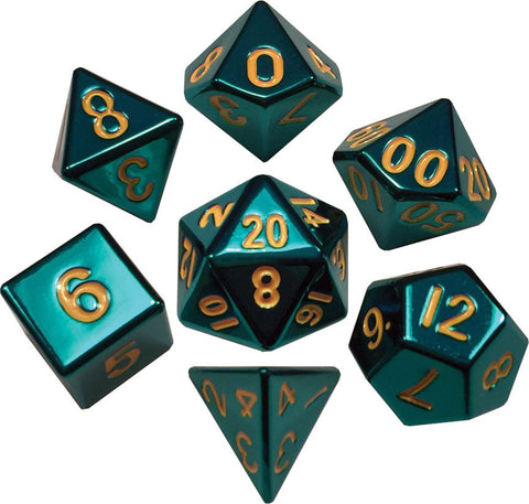 Turquoise with Gold Numbers 16mm Metal Polyhedral Dice Set