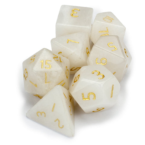 Set of 7 Handmade Stone Polyhedral Dice, White Jade