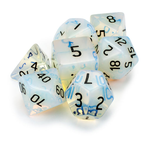 Set of 7 Handmade Stone Polyhedral Dice, Opalite - Chipped