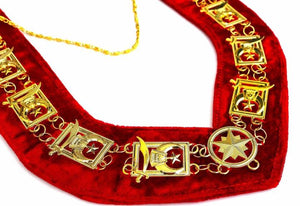 Shriner - Masonic Chain Collar - Gold/Silver on Red - Regalialodge