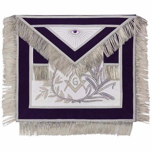 MASTER MASON Silver Embroidered Apron square compass with G Purple - Regalialodge
